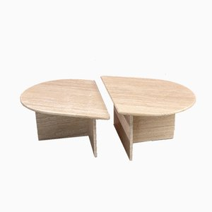 Tavolini da caffè postmoderni in travertino, anni '70, set di 2