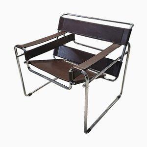 Brauner Wassily B3 Stuhl aus Leder von Marcel Breuer für Gavina, 1960er