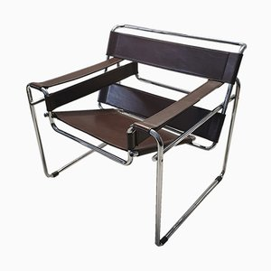 Brown Leather Wassily B3 Chair by Marcel Breuer for Gavina, 1960s