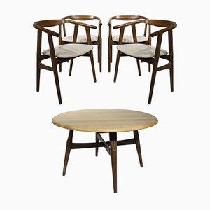 Chaises et Table de Salle à Manger GE525 et G526 par Hans J. Wegner & Niels Bach pour Getama, 1960s, Set de 5