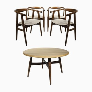 GE525 and G526 Table and Dining Chairs by Hans J. Wegner & Niels Bach for Getama, 1960s, Set of 5
