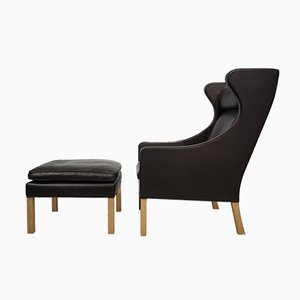 Vintage Winged Lounge Chair & Footstool by Børge Mogensen for Fredericia