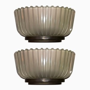 Italian Brass and Glass Sconces, 1930s, Set of 2