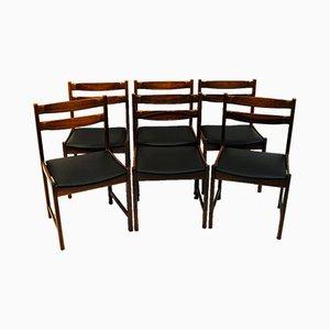 Sedie da pranzo Bruksbo in palissandro e similpelle nera, anni '60, set di 6