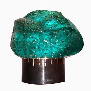 Lámpara de mesa Mid-Century de cristal verde de Max Ingrand para Saint Gobain, años 60