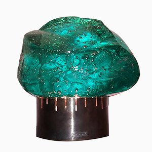 Mid-Century Green Crystal Table Lamp by Max Ingrand for Saint Gobain, 1960s