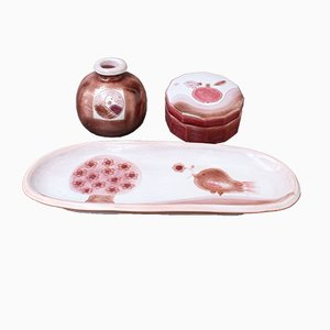Decorative Ceramic Set with Tray, Vase, and Box from Frères Cloutier, 1970s