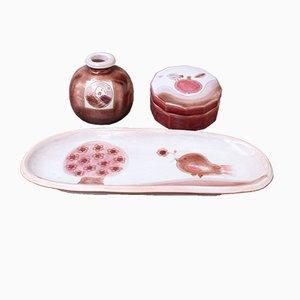 Juego de bandeja, jarrón y joyero de cerámica decorada de Frères Cloutier, años 70