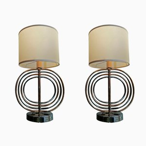 Italian Brass, Nickel & Gold Table Lamps, 1960s, Set of 2