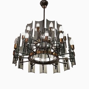Brass and Crystal 24-Light Chandelier, 1950s