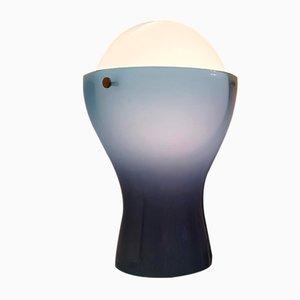Lámpara de mesa italiana Mid-Century de latón y cristal de Murano azul de Mazzega, años 60