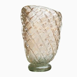 Mid-Century Italian Murano Glass & Gold Leaf Vase from Barovier & Toso, 1940s