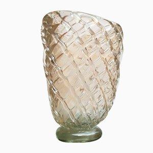 Vase Mid-Century en Verre de Murano et Feuille Dorée de Barovier & Toso, 1940s