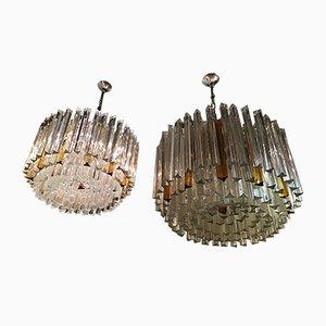Lámparas de araña modelo Triedi Mid-Century de cristal de Murano y latón de Venini, años 60. Juego de 2