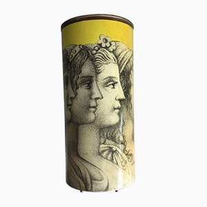 Mid-Century Yellow Umbrella Stand with Portraits by Piero Fornasetti, 1950s
