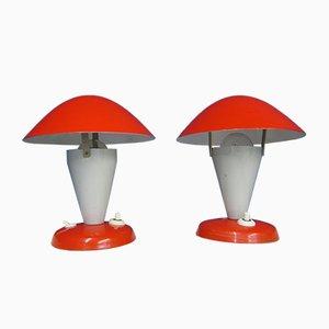 Lampes de Bureau Champignon par Josef Hurka pour Napako, 1950s, Set de 2