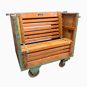 Vintage Industrial Trolley Bench, 1920s