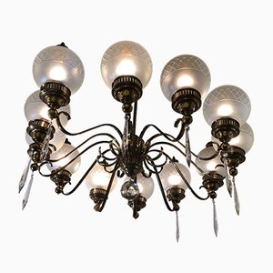 Brass & Crystal 12-Light Chandelier from Arredoluce, 1950s