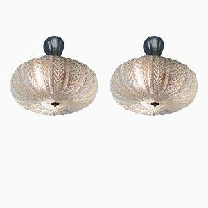 Lámparas de araña de cristal de Murano y latón de Venini, años 40. Juego de 2