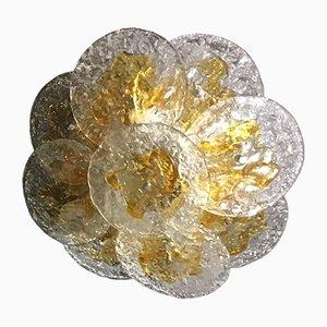 Lámpara de techo vintage de cristal de Murano y latón de Mazzega, años 70