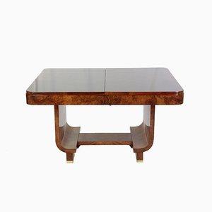 Tavolo da pranzo vintage Art Déco allungabile in legno di noce