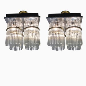 Murano Glass & Brass Chandeliers from Venini, 1960s, Set of 2