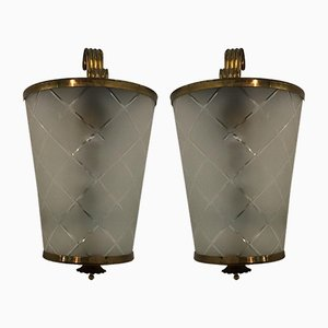 Brass & Green Crystal Sconces from Brusotti, 1940s, Set of 2