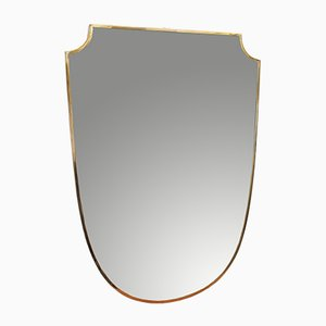 Mid-Century Crest-Shaped Italian Brass Framed Wall Mirror, 1950s