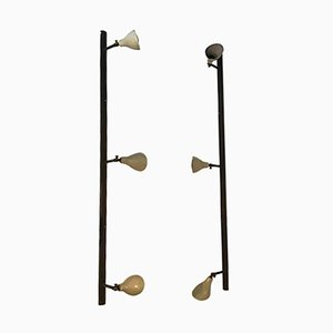 Brass and Painted Metal Wall Lights by Gino Sarfatti, 1950