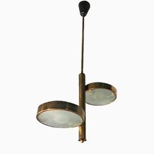Lampada da soffitto in ottone e vetro a due luci di Stilnovo, anni '50