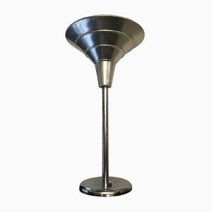 Lámpara de mesa vintage de metal cromado, años 30