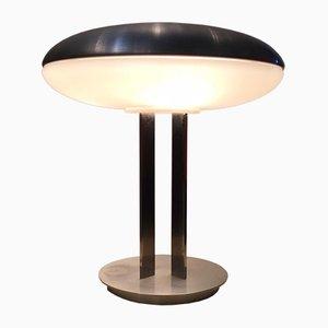 Lámpara de mesa Mid-Century de vidrio y metal cromado de Oscar Torlasco, años 50