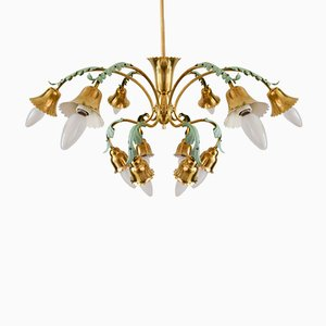 Italian 12-Arm Chandelier with Green Leaves, 1960s