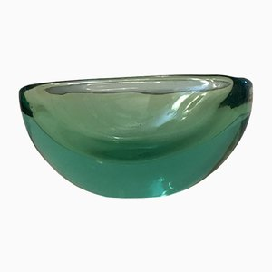 Vintage Green Oval Bowl by Archimede Seguso, 1950s