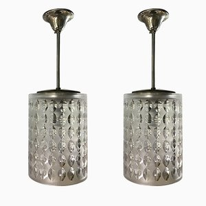 Crystal & Brass Pendant Lamps from Cristal Art, 1950s, Set of 2
