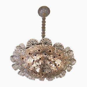 Lámpara de araña floral de cristal de Murano y latón de Ercole Barovier, años 40