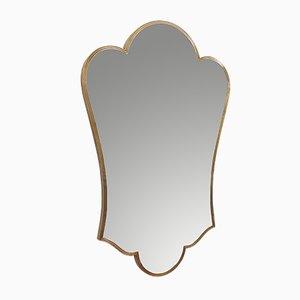 Fleur-de-Lis-Shaped Italian Brass Framed Wall Mirror, 1950s