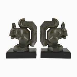 Art Deco Squirrel Bookends by Max Le Verrier, 1930s