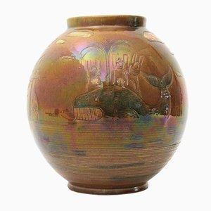 Jarrón de cerámica esmaltada iridiscente de Pozzo Garitta, años 40