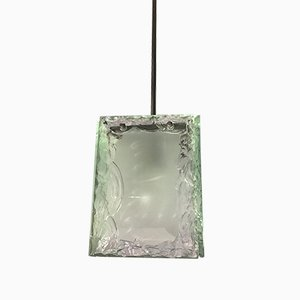 Vintage Chiseled Glass & Chrome-Plated Brass Ceiling Lamp from Fontana Arte, 1960s