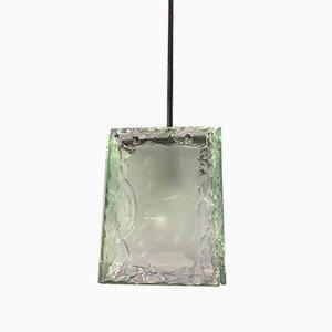 Vintage Deckenlampe aus ziseliertem Glas & verchromtem Messing von Fontana Arte, 1960er