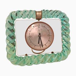 Horloge de Table Vintage en Verre de Murano et Laiton de Seguso, Italie, 1930s