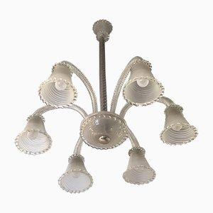Kronleuchter aus Muranoglas mit 6 Leuchtstellen von Seguso, 1940er