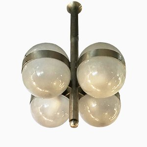 Nickel-Plated Brass & Glass Tetraclio Chandelier by Sergio Mazza for Artemide, 1961