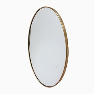 Mid-Century Oval-Shaped Italian Brass Framed Wall Mirror, 1950s