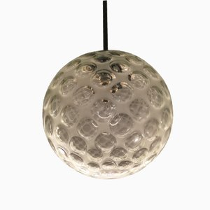 Italian Murano Glass, Metal & Chrome Ceiling Lamp from Seguso, 1960s