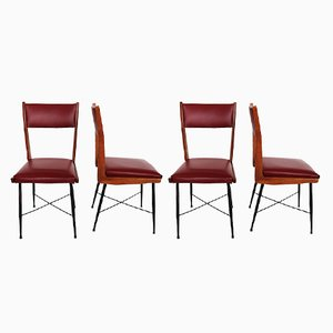 Mid-Century Italian Chestnut and Leatherette Chairs, 1950s, Set of 4