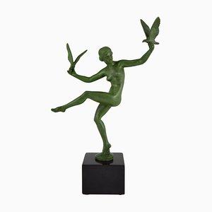 Art Deco Nackte Tänzerin mit Vögeln Skulptur von Marcel Bouraine, 1930er