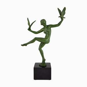 Art Deco Nude Bird Dancer Sculpture by Marcel Bouraine, 1930s