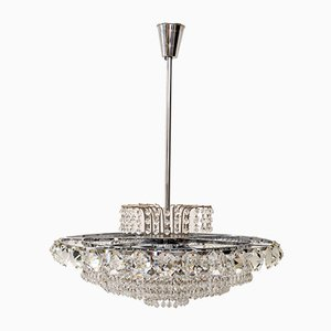 Brass Nickel-Plated Crystal Chandelier from Bakalowits & Söhne, 1960s